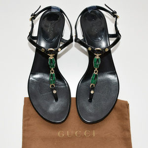 GUCCI Bamboo Thong Slingback Black Patent Sandals